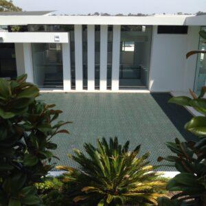 Green roof drainage at award winning home